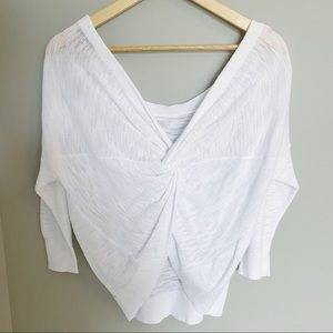 Express Twist Back White Sweater Top Small Medium